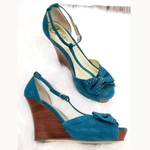 Seychelles Wedges Size 11 Turquoise Bows